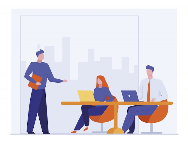 Business coach talking to audience Free Vector