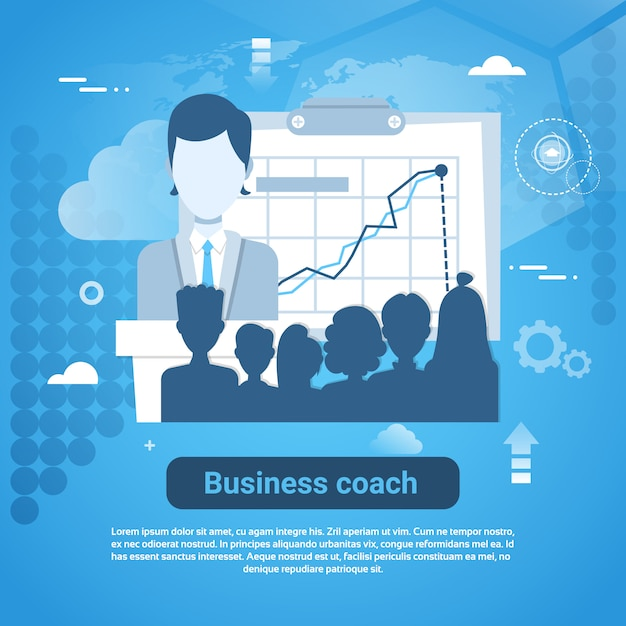 Business coach template web banner with copy space Premium Vector