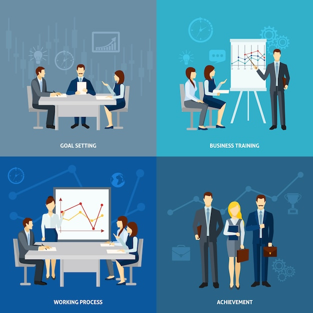 Business coaching 4 flat icons square Free Vector