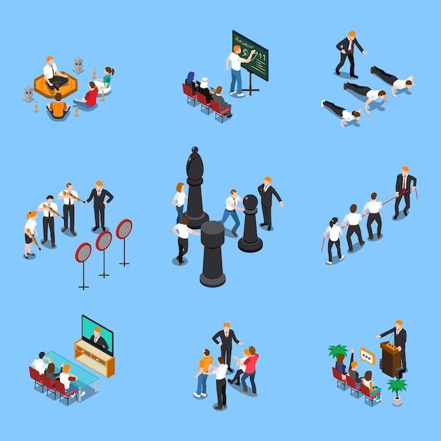 Business coaching elements people symbols isometric set with motivation goals setting planning training seminars isolated Free Vector