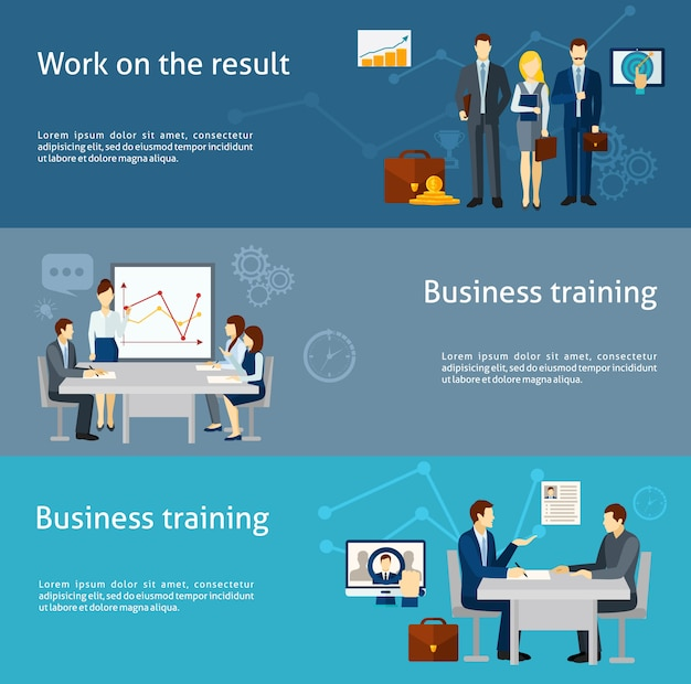 Business coaching investment flat banners set Free Vector