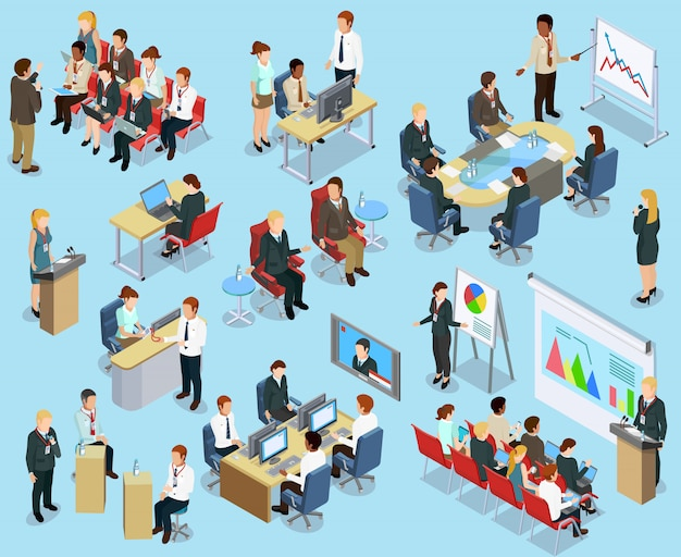 Business coaching isometric collection Free Vector