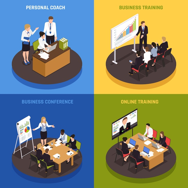 Business coaching isometric icons set with strategy and success symbols isolated Free Vector