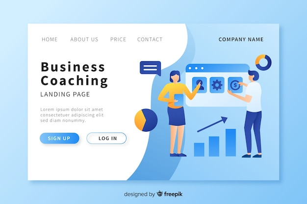 Business coaching landing page template Free Vector