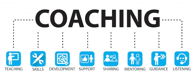 Business coaching leadership mentoring concept Premium Vector