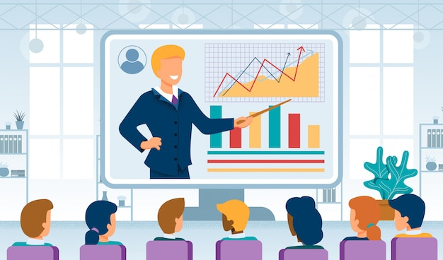 Business coaching online flat vector concept Premium Vector