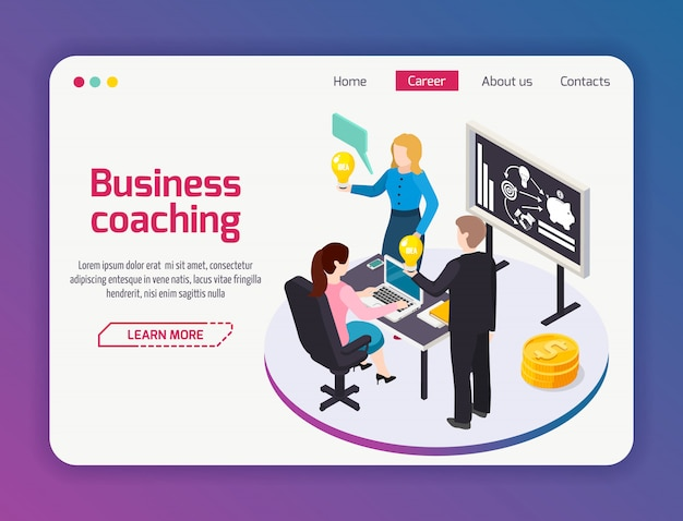 Business coaching web site page Free Vector