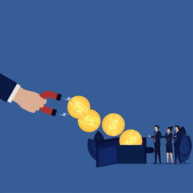 Business coins wallet pulled up by magnet metaphor of debt tax bank. Premium Vector