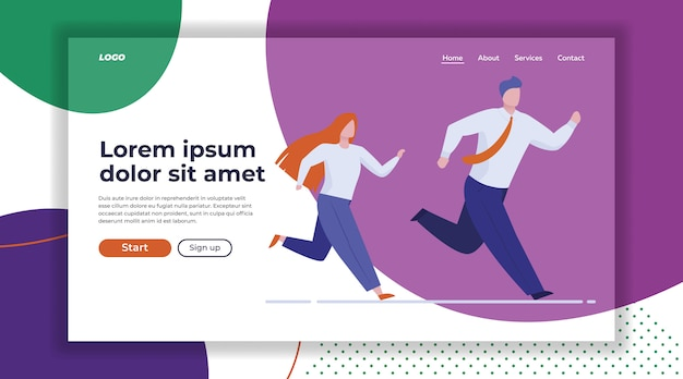 Business colleagues race Free Vector