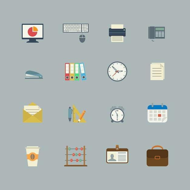Business collection of flat stationery supplies Premium Vector