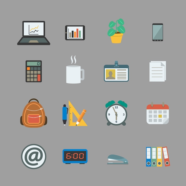 Business collection of office supplies Premium Vector