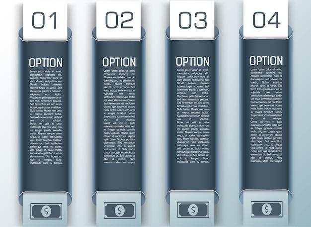 1から4までの垂直スタイルで設定されたビジネスカラーデザインのインフォグラフィック 無料ベクター