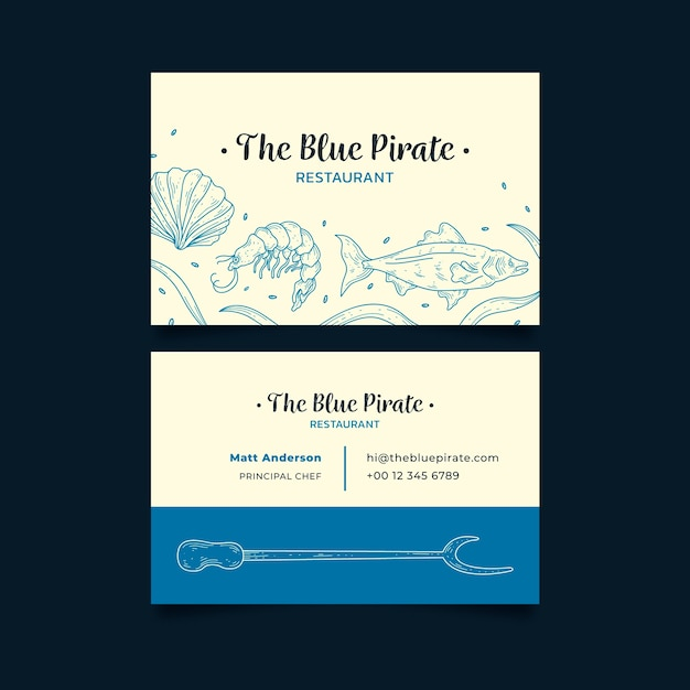 Business company card the blue pirate restaurant Free Vector