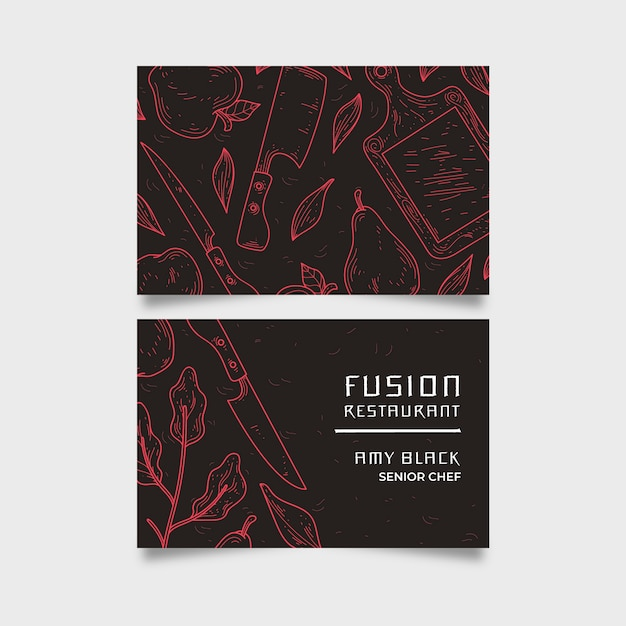 Business company card fusion restaurant Free Vector