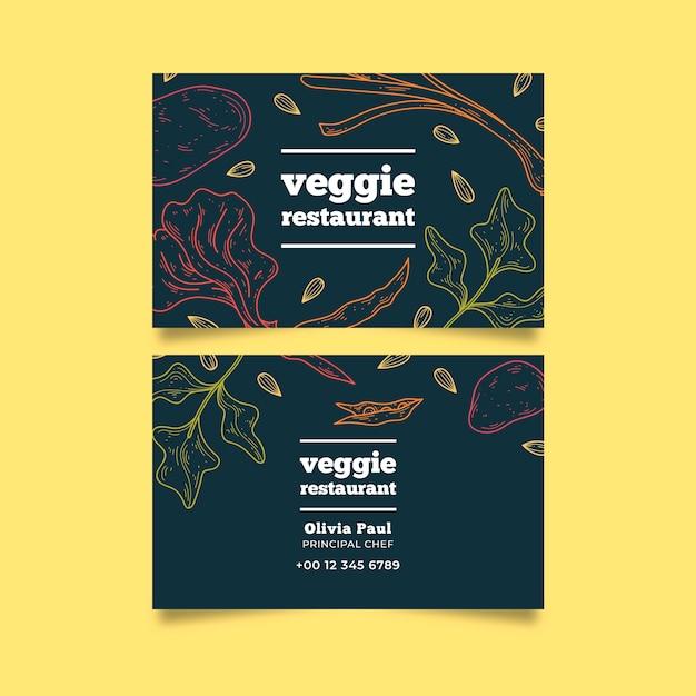 Business company card veggie restaurant Free Vector