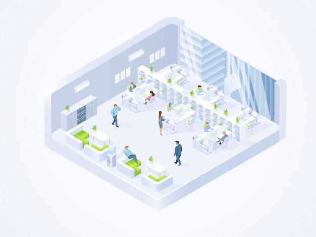Business company, coworking center office interior Premium Vector