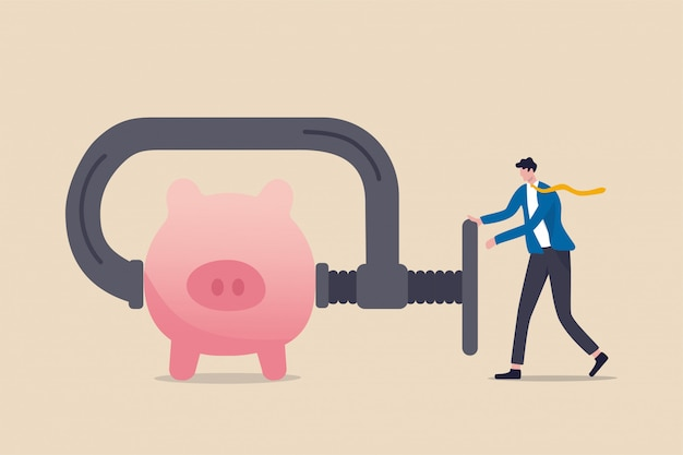 Business or company cut budget or squeeze and reduce spending due to business or economic crisis in covid-19 coronavirus recession concept, businessman using clamp to squeeze saving pink piggy bank Premium Vector
