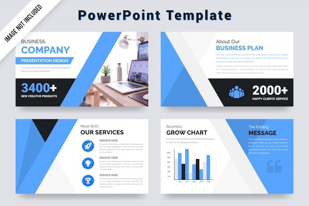Business company presentation template  with  grow chart. Premium Vector