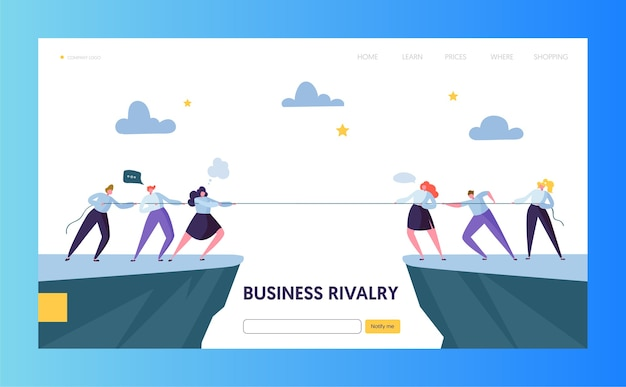 Business competition challenge landing page Premium Vector