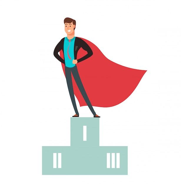 Business competition winner. super hero man standing on podium Premium Vector