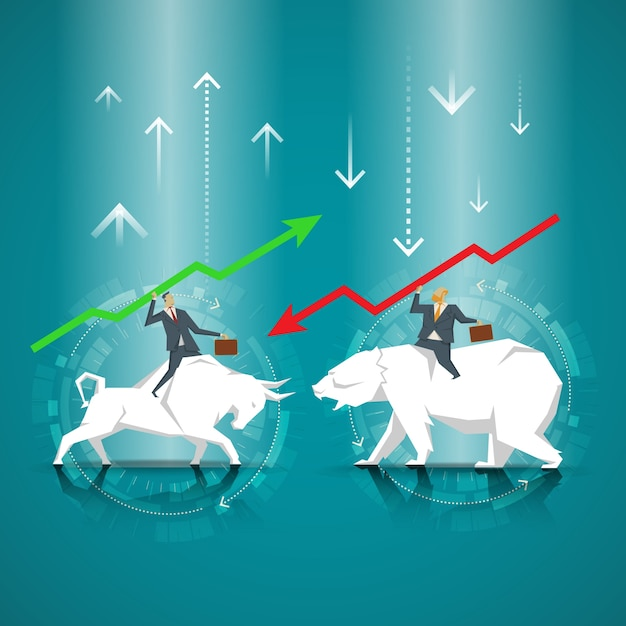 Business Concept Businessman Riding A Bull Businessman Riding Bear
