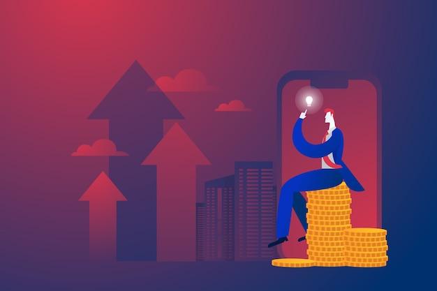Бизнес-концепция, бизнесмен сидит на деньгах и думает о бизнес-плане Бесплатные векторы