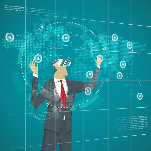 Business concept businessman wearing virtual reality glasses businessman wearing virtual reality glasses management business lines transactions on the map gumiabroncs Choice Image