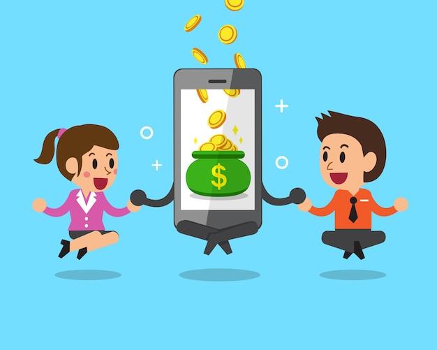 Бизнес-концепция мультяшный смартфон помогает деловым людям зарабатывать деньги Premium векторы