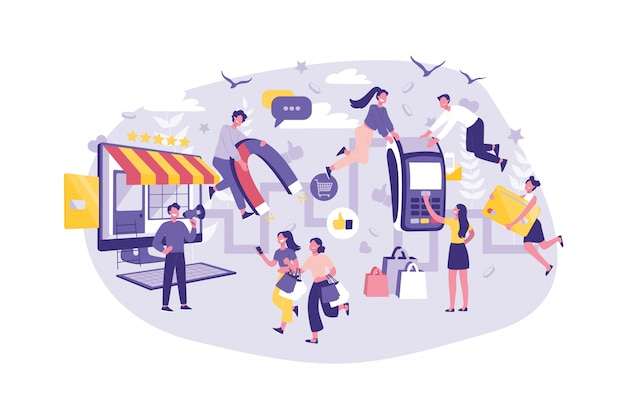 Business concept customer journey, planning, support and advertising. group managers improves the level of service. teamwork of businessmen and tourists Premium Vector