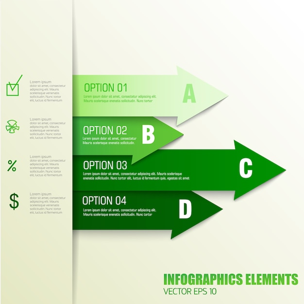 Business concept finance infographics elements with ordered text fields in green colors Free Vector