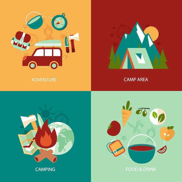 Business concept flat icons set of camping area\ adventure food and drink infographic design elements vector\ illustration
