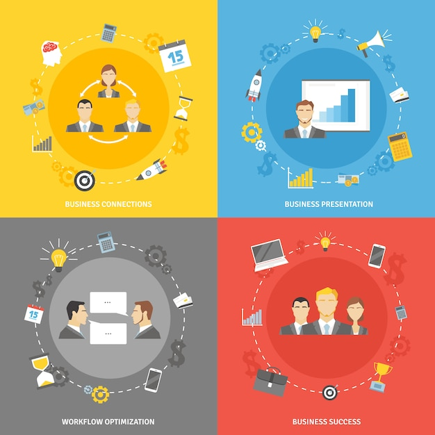 Business concept flat icons set Free Vector