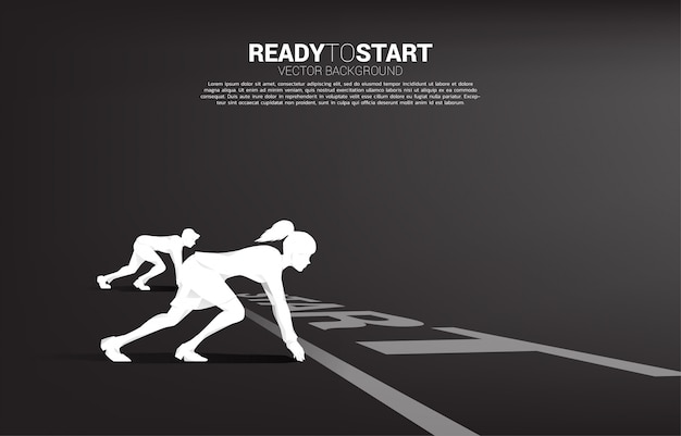 Business concept of gender competition. silhouette of businessman and business women ready to run at start line on racing track. Premium Vector