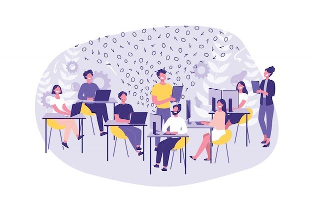 ビジネスコンセプトハッカソン、プログラミング。店員やプログラマーのグループが仕事をします。チームワークハッカーとオフィスのマネージャー。 Premiumベクター