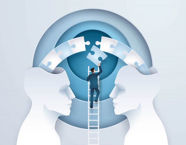 Business concept idea of brainstorming through two heads are better than one Premium Vector