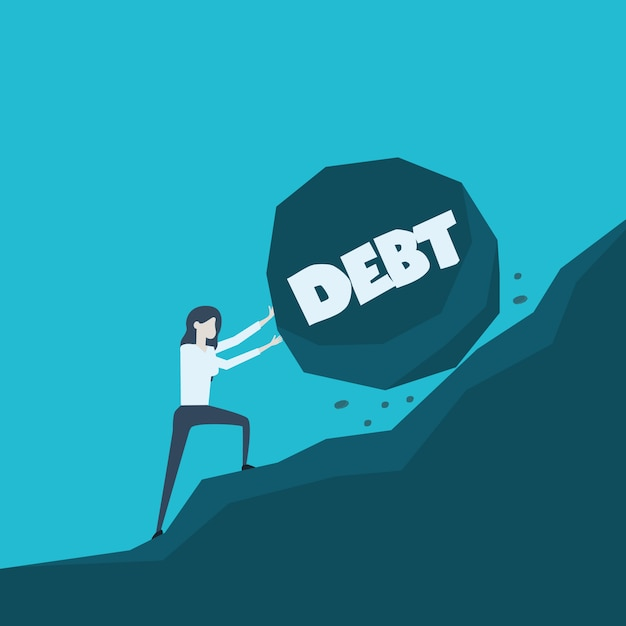 Business concept illustration of a business woman pushing big stone with message debt on her way up to the top Premium Vector