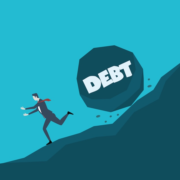 Business concept illustration of a businessman running away from big stone with message debt that is rolling down to him Premium Vector