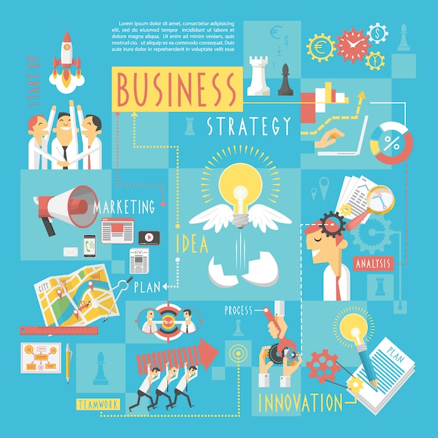 Business concept infographic elements poster Free Vector