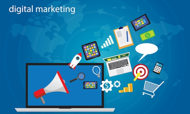 Business concept. internet online digital marketing vector Premium Vector