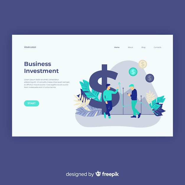 Business concept landing page template Free Vector