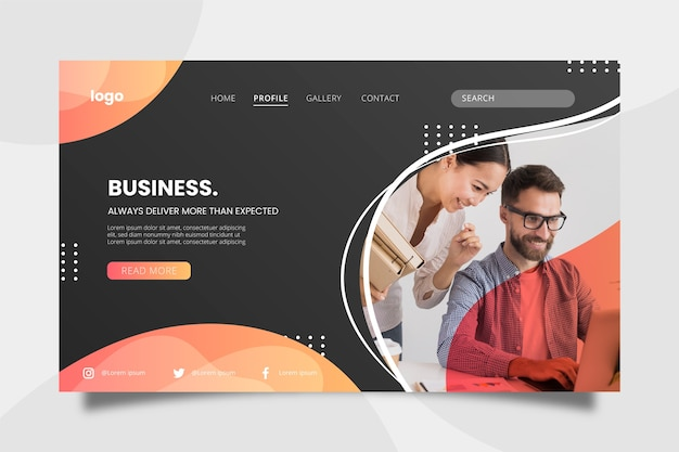 Business concept landing page with people Free Vector