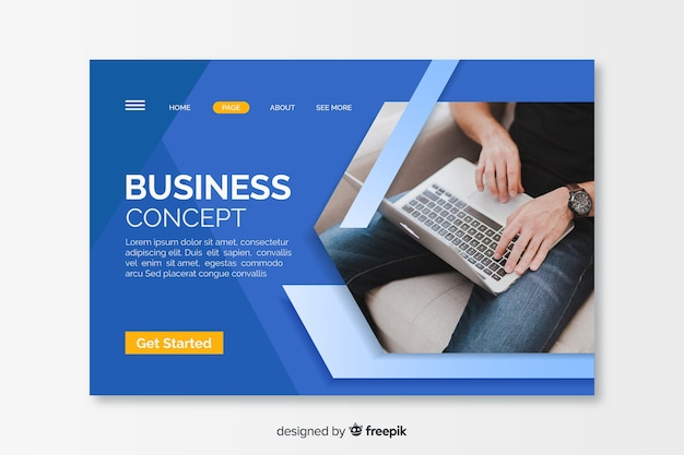 Business concept landing page with picture Free Vector