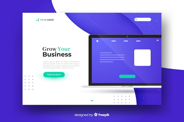 Business concept landing page Free Vector