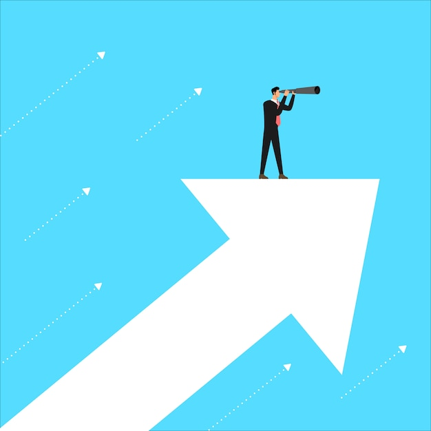 Business concept leader stand looking vision for business.  illustrate. Premium Vector
