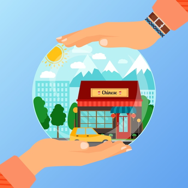 Business concept for opening chinese restaurant Premium Vector