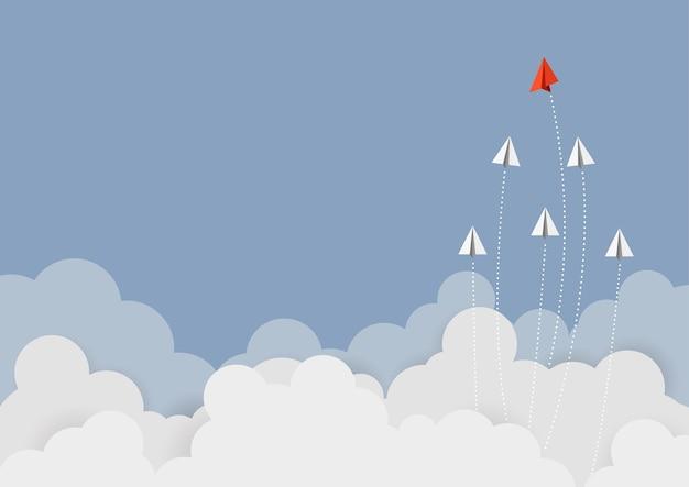 Business concept. red paper leader Premium Vector