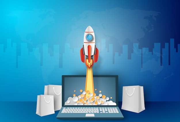 Business concept, rocket launching from laptop with paper bag Premium Vector