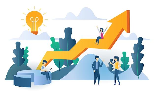 Business concept sales chart flat illustration Premium Vector