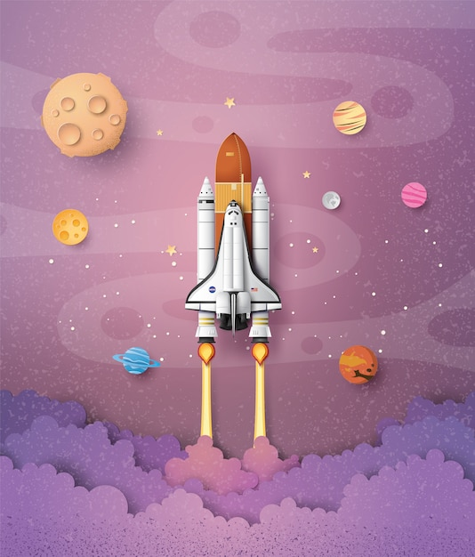Business concept space shuttle launch to the sky , paper art and craft stlye. Premium Vector