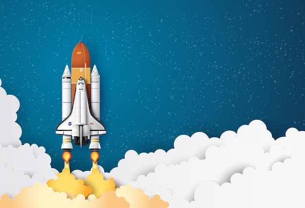 Business concept space shuttle launch to the sky Premium Vector
